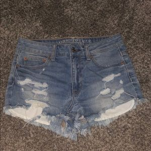 AE denim high rise shorts